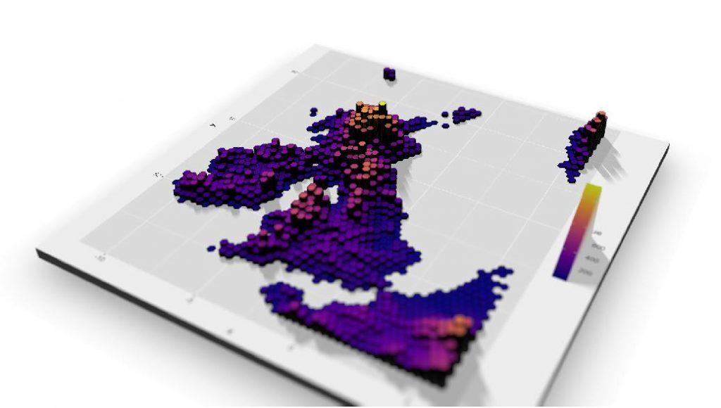 A UK hexbin visualisation with ggplot, rayshader and geoviz